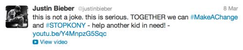 Justin Bieber tweet kony 2012