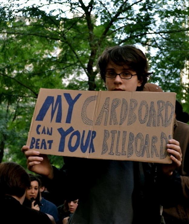 my cardboard beats your billboard occupier