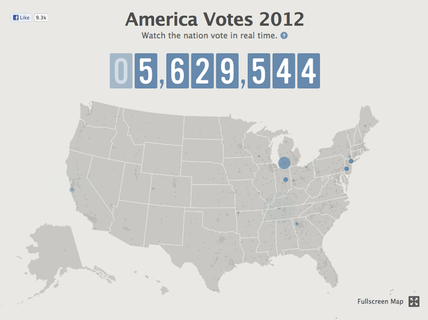 Facebook map of voting during the 2012 elections