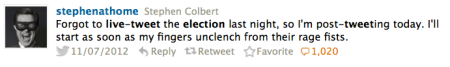 stephen colbert live tweet elections 2012