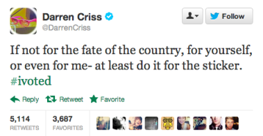 darren criss #ivoted 2012